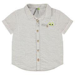 Hemd met korte mouwen met decoratieve strepen en zakje met inzetstuk met krokodil