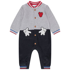 Lange playsuit met 2-in-1 effect en met badges van Mickey Disney van bouclé