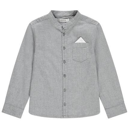 Chemise manches longues en maille chinée à col mao et poche