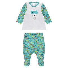 Pyjama van jerseystof met dierenprint