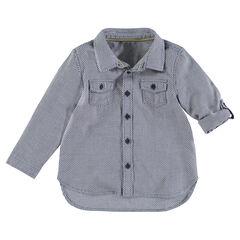 """Hemd met lange mouwen en micromotief """"all-over"""""""