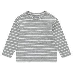 Junior - T-shirt met lange mouwen uit decoratieve, gestreepte jerseystof met zakje