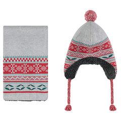 Ensemble van muts en sjaal van tricot met jacquardmotief en voering van sherpa