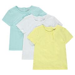 Lot de 3 Tee-shirts manches courtes en jersey slub unis