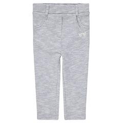 Gevoerde broek van gedraaide, grijze jerseystof met contrasterende banden