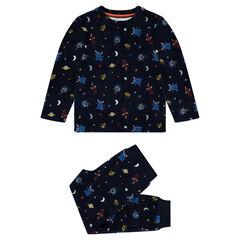 Pyjama van velours met motief met buitenaardse wezens