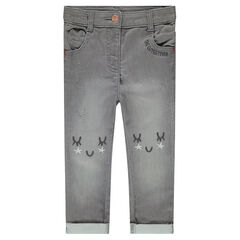 Jeans met used effect en borduurwerk aan de knieën