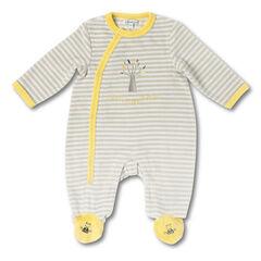Pyjama in fluweel met strepen met borduursel