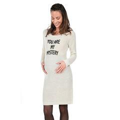 Zwangerschapsjurk met lange mouwen en boodschap
