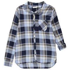 Junior - Hemd met lange mouwen, grote ruiten en zak