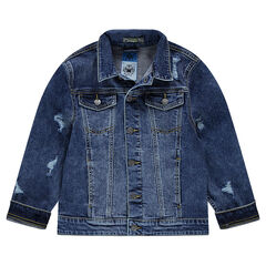 Junior - Jeansvest met used effect en zakken