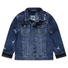 Junior - Jeansvest met used effect en zakken