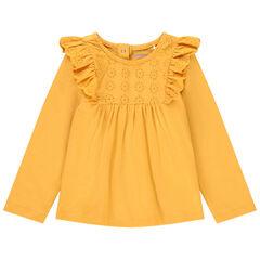 T-shirt manches longues à broderie anglaise en coton bio pour bébé fille , Orchestra