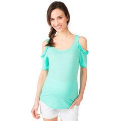 Tee-shirt de grossesse vert menthe à épaules ajourées