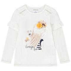 T-shirt met lange mouwen uit jerseystof met print met prinses