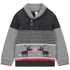 Pull en tricot doublé velours avec cerfs en jacquard et rayures