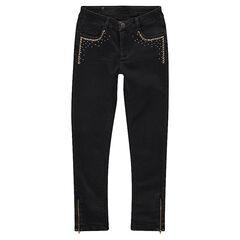 Junior - Slim fit jeans met used effect en decoratieve studs