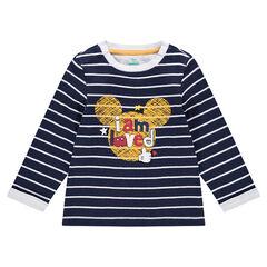 T-shirt met lange mouwen en contrasterende strepen, met print van ©Disney's Mickey