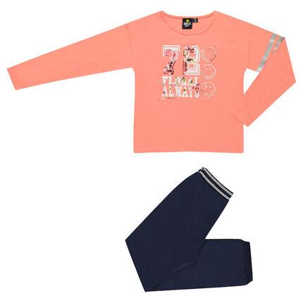 Lange pyjama uit twee materialen met ©Smiley print