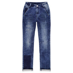Junior - Jeans effet used et crinkle avec usures sur le devant