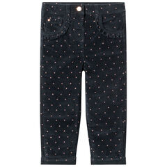 Pantalon en velours doublé polaire à imprimé graphique