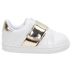 Lage sneakers met ledereffect en goudkleurige inzetstukken, van maat 20 tot 23