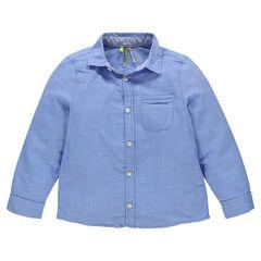 Chemise manches longues unie avec poche