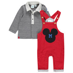 Ensemble salopette en velours et polo rayé motif Mickey Disney