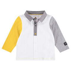 Polo manches longues en jersey avec manches contrastées ©Smiley
