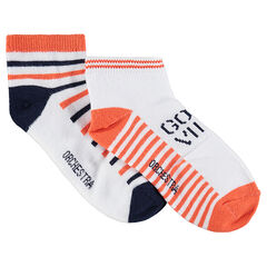 Set met 2 paar korte sokken met contrasterende strepen