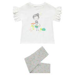 Pyjama en jersey avec tee-shirt print fillette et legging chiné