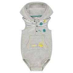Combinaison à capuche en jersey avec prints fantaisie et rayures