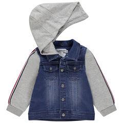 Veste en jean effet used et molleton à capuche amovible