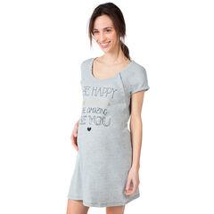 Chemise de nuit de grossesse et d'allaitement avec message printé