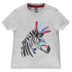 T-shirt korte mouwen in dier jersey