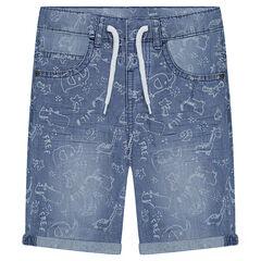 Bermuda en jeans effet used avec imprimé fantaisie all-over