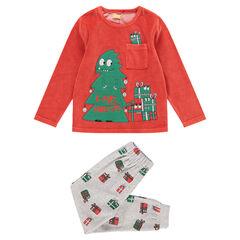 Pyjama van velours met kerstboom en kerstcadeautjes