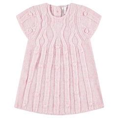 Robe manches courtes en tricot avec jeu de mailles