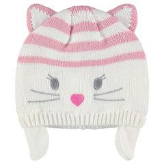 Bonnet en tricot avec rayures et oreilles de chat en relief