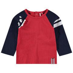 T-shirt met lange mouwen in twee kleuren met monsterprint en reliëftanden