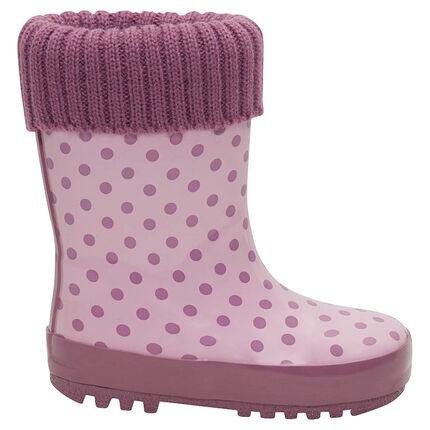 Rubberen regenlaarzen met roze tricot aan de sluiting bovenaan en binnenvoering van maat 24 tot 29