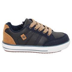 Lage sneakers uit twee materialen met ledereffect, veters en ritssluiting