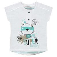 Tee-shirt manches courtes en jersey avec rayures contrastées et chat printé