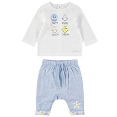 Ensemble van T-shirt met ©Smiley-print en gemêleerde broek met sterrenprint