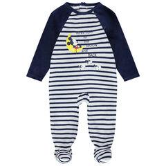 Pyjama van velours met streepjes en prints van Mickey Disney