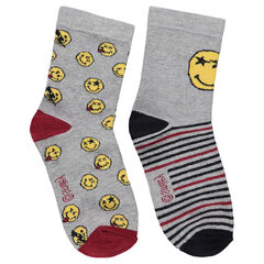 Lot de 2 paires de chaussettes assorties avec Smiley en jacquard