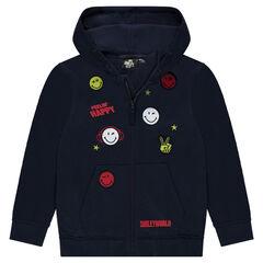 Junior - Vest met kap van molton met badges en borduurwerk