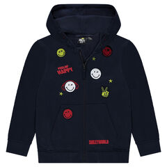 Junior - Gilet à capuche en molleton avec badges et broderies