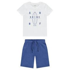 Pyjama avec tee-shirt print surf et bermuda
