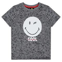 T-shirt met korte mouwen in gemêleerde jerseystof met ©Smiley print